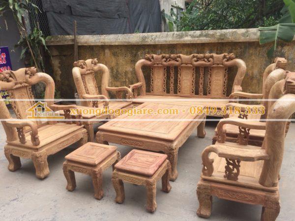 Bộ bàn ghế gỗ hương tay 12