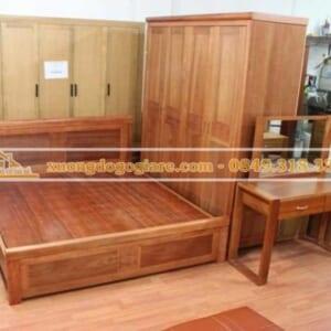 combo giường 1m8x2m dát phản + tủ 4 buồng gỗ xoan đào