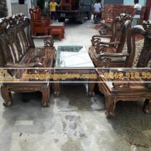 Bộ bàn ghế minh quốc đào gỗ tràm tay 10 – 6 món DG-0089