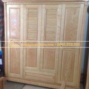 Tủ áo gỗ sồi 4 cánh