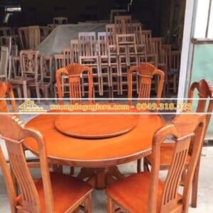 Bàn ăn gỗ xoan đào – bàn tròn – 6 ghế