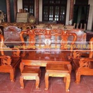 Bộ bàn ghế minh quốc đào gỗ xoan ta – tay 10 – 6 món DG-0090