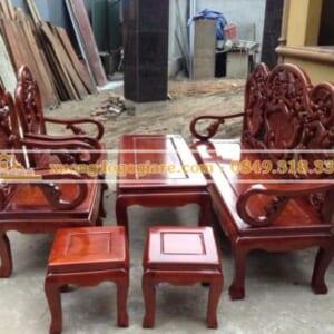 Bàn ghế guột gỗ xà cừ – 6 món