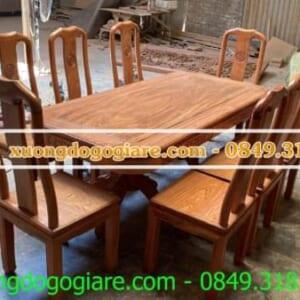 Bộ bàn ghế ăn chữ thọ gỗ hương đá