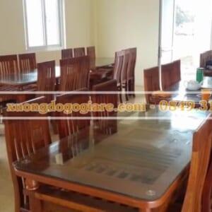 Bàn ăn gỗ xoan đào – bàn chữ nhật – 6 ghế