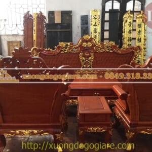 Bộ bàn ghế hoàng gia dát vàng siêu Vip của anh Quốc ở TP Hạ Long
