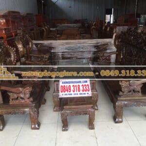 Bàn ghế nghê khuỳnh gỗ mun