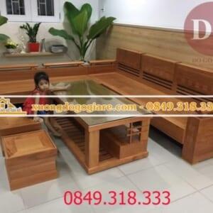 Bàn ghế sofa góc gỗ sồi