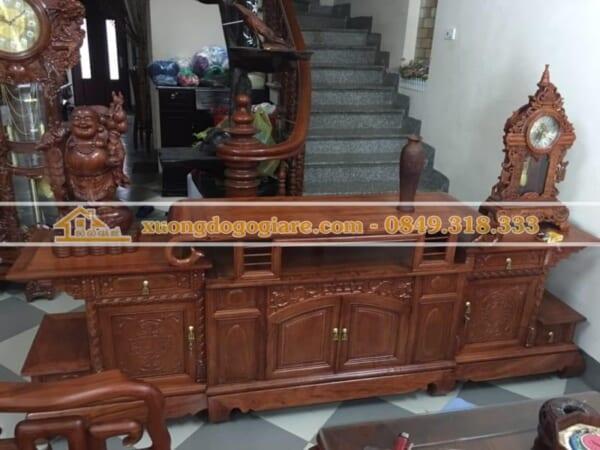 Kệ tivi 2,4m gỗ hương đá