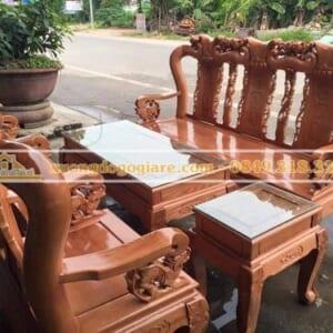 Bộ bàn ghế minh quốc đào gỗ sồi tay 10 – 6 món DG-0088