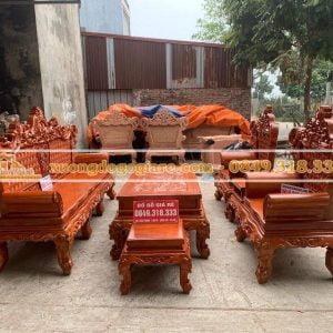 Bộ bàn ghế hoàng gia mẫu V5 gỗ gõ đỏ